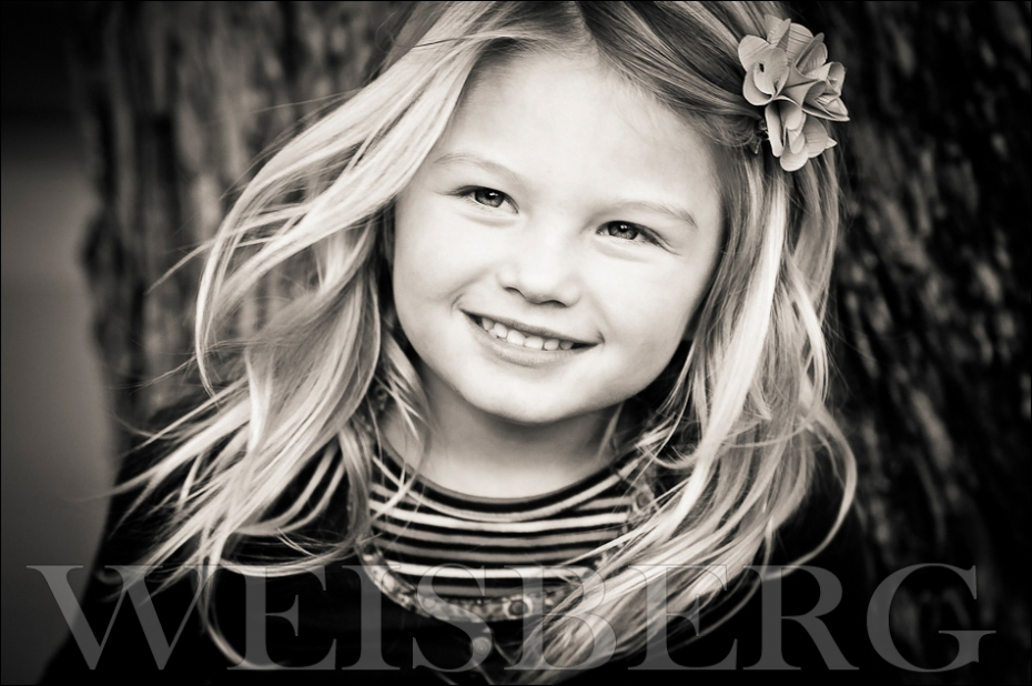 black & white portrait of a four year old girl