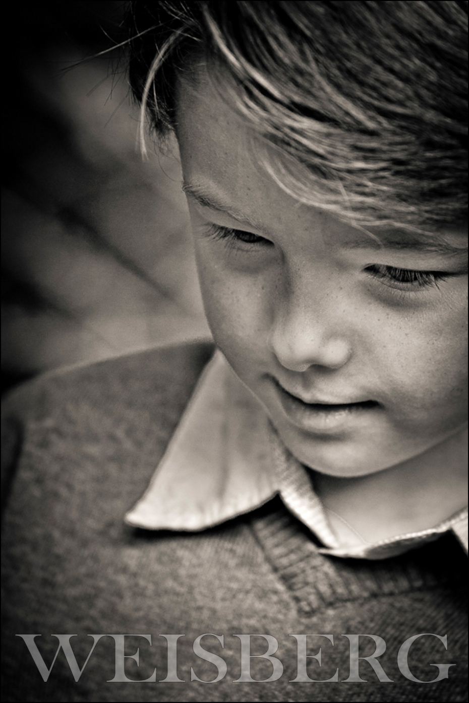 black & white portrait of a 6 year old boy