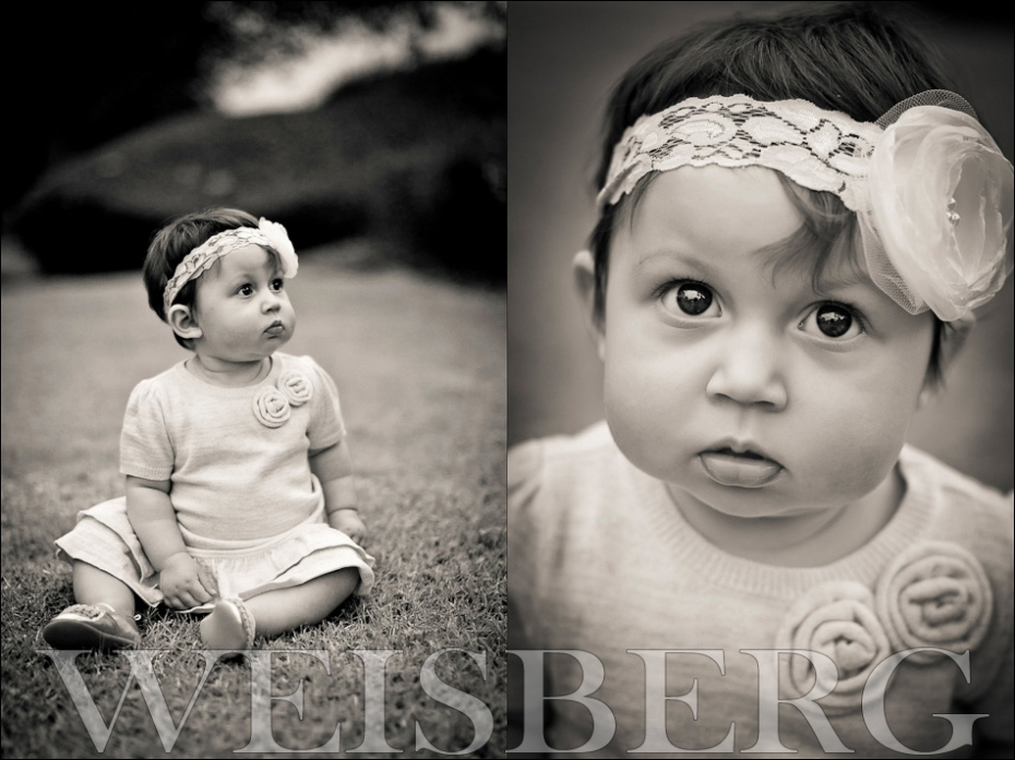black and white baby portrait outdoors in park orange county ca