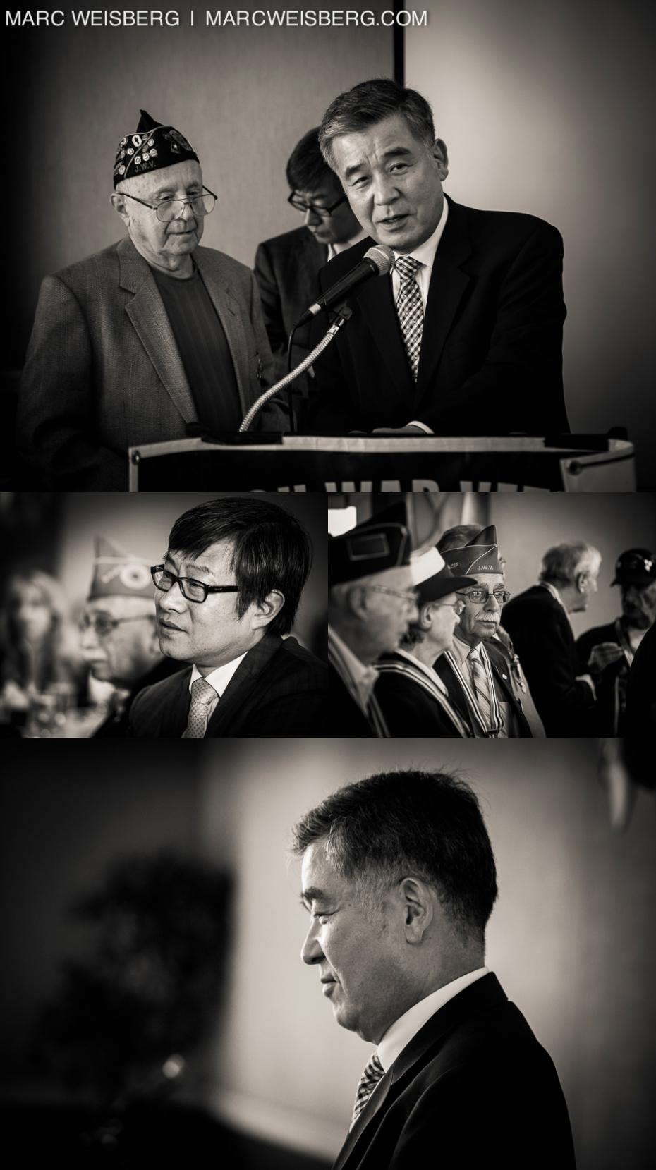 black and white portraits of korean embassador