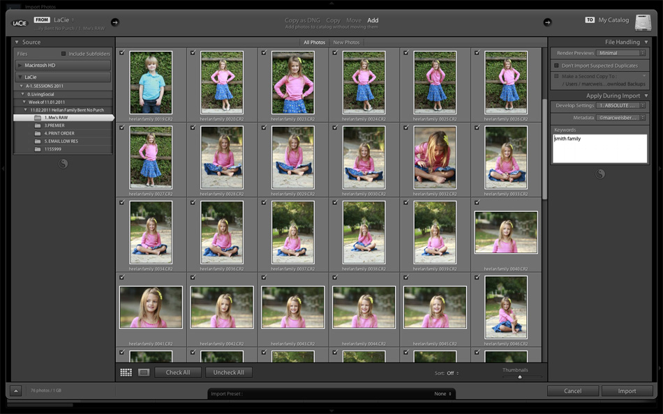 Adobe Lightroom 3 Import