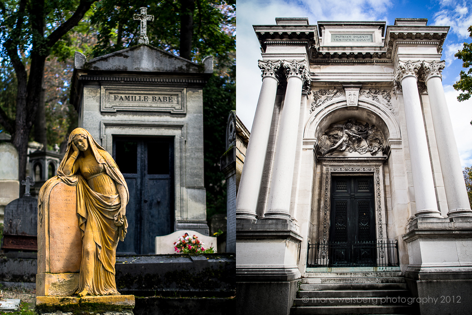 statues, pere lachaise cemetery, paris, pictures, photographs