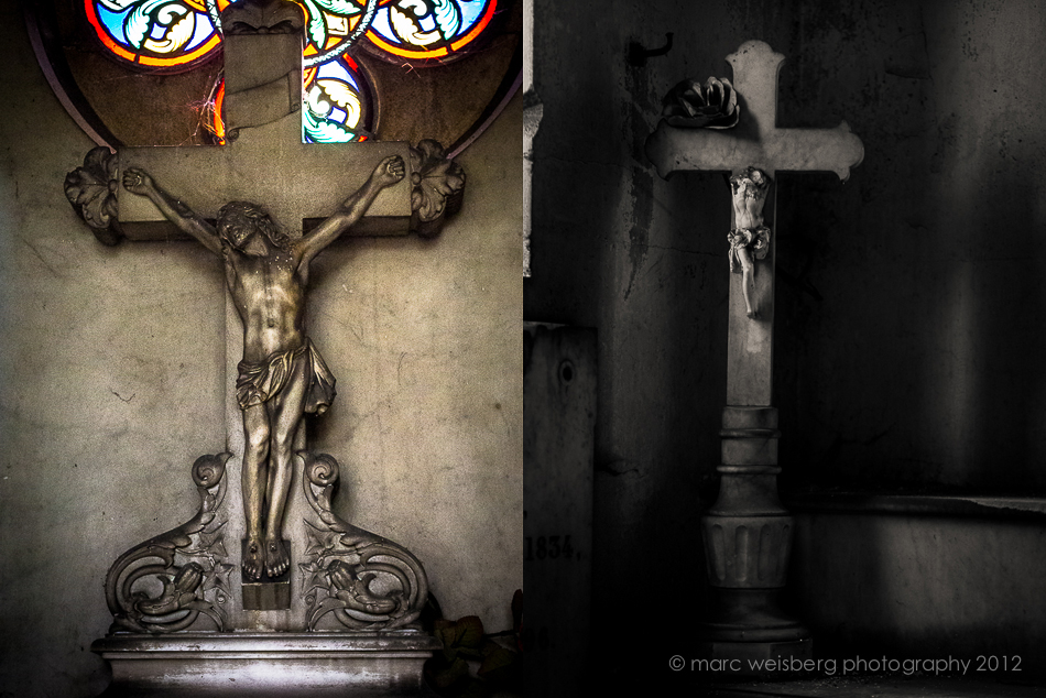 catholic crosses, pere lachaise cemetery, paris, pictures