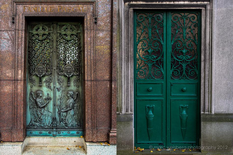 tomb, mausoleum doors, pere lachaise cemetery, paris, pictures
