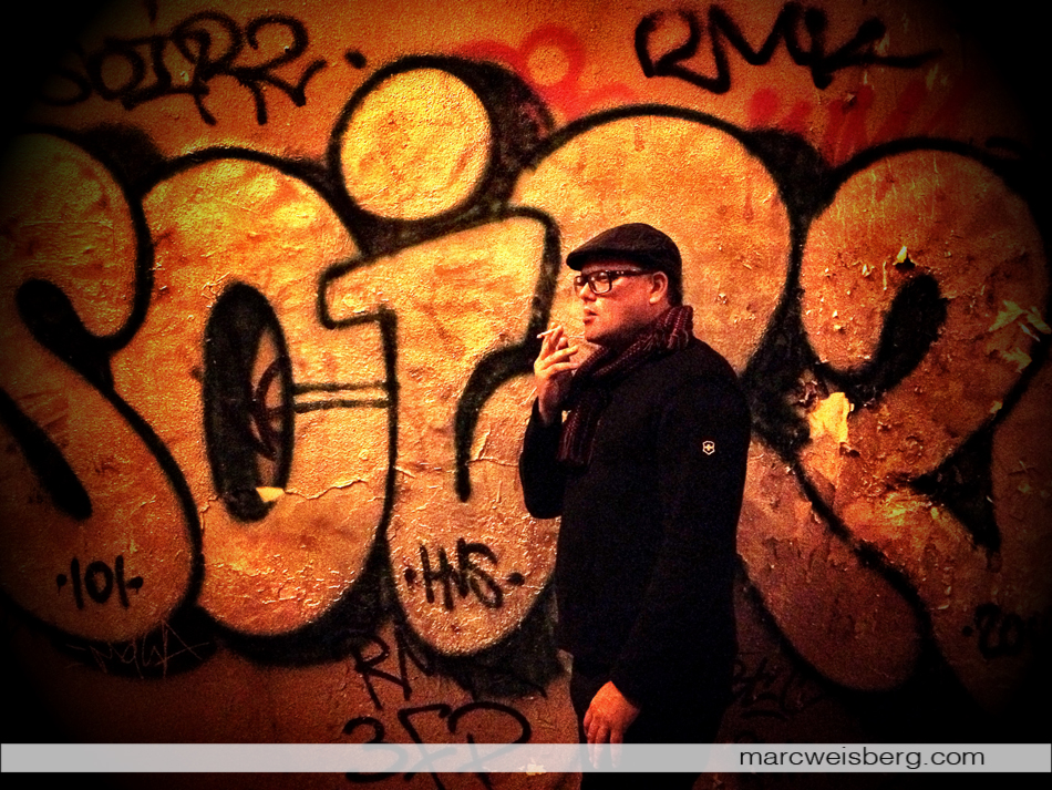 Graffiti portrait, Nightime, Marais, Paris, iPhone 4s