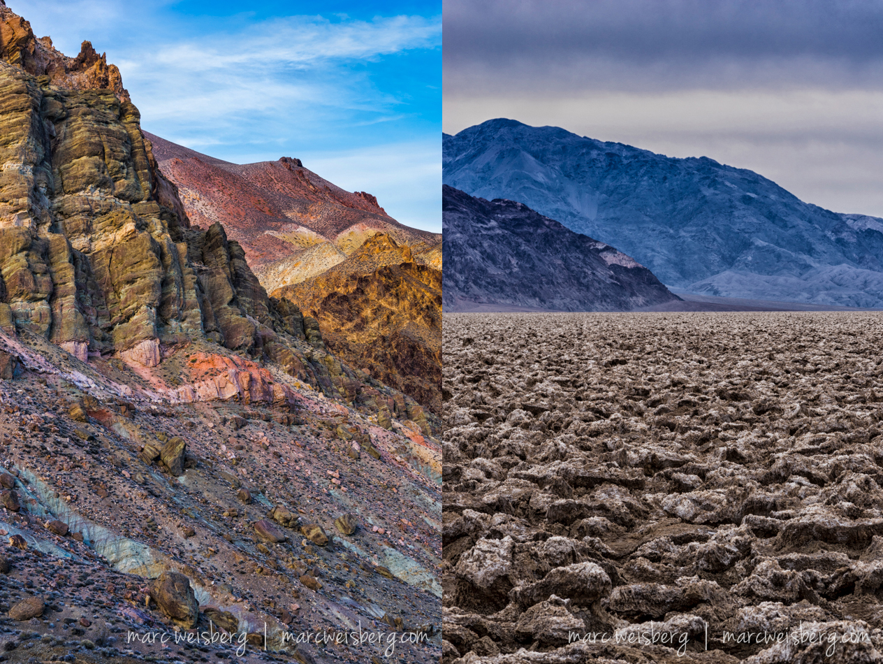 Two views:  (l) Titus Canyon just before sunset and Bad Water looking North.  As the earth dries after the rains, the salt pushes up the mud and for miles the earth is fractured like a cobbler topping.