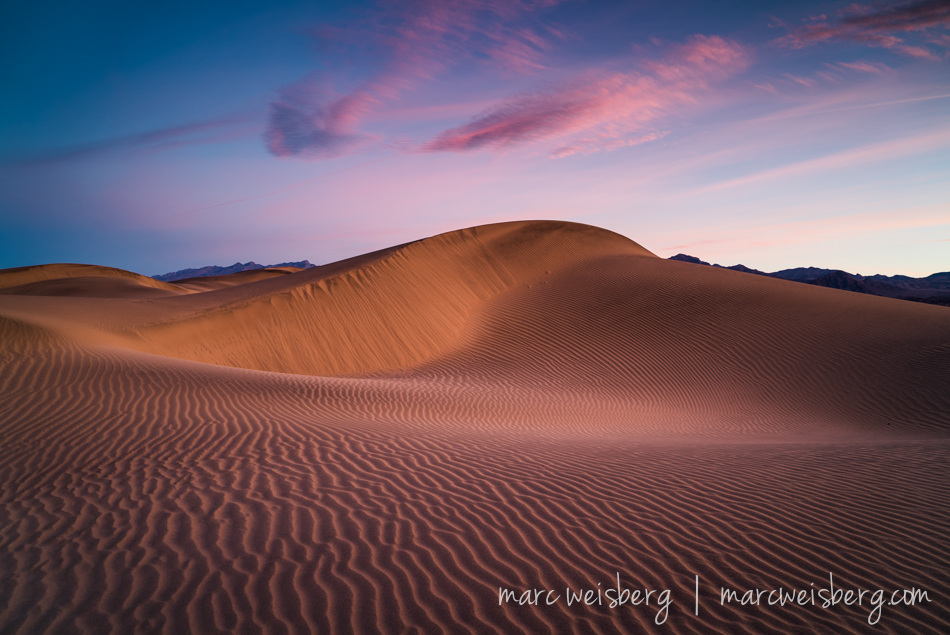 Break dawn at Mesquite Dunes 6:44AM and chilly.  We were blessed with some clouds after a lack luster overcast day the day before.  Sony a7s, 24-70 f4 ZA OSS, ISO 200, f8, 1/4 sec.  I'm impressed by the Sony 24-70mm f4 ZA OSS.  Tack sharp edge to edge from f8 all the way through f22.